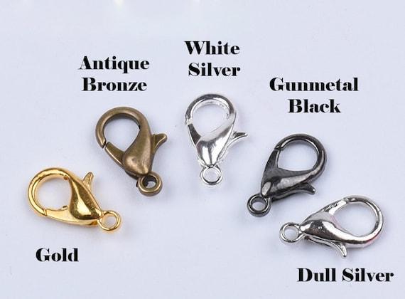 CHOOSE COLOUR SILVER BRONZE GOLD EN 5 LARGE LOBSTER CLASP//CLAW L47 BLACK