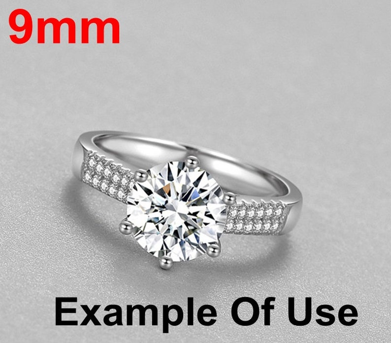 SALE Round Diamond Ring Setting 9 mm Rose White Gold Sterling Silver 925 Six Prongs One Stone Holder Unique Custom Love Engagement Blanks