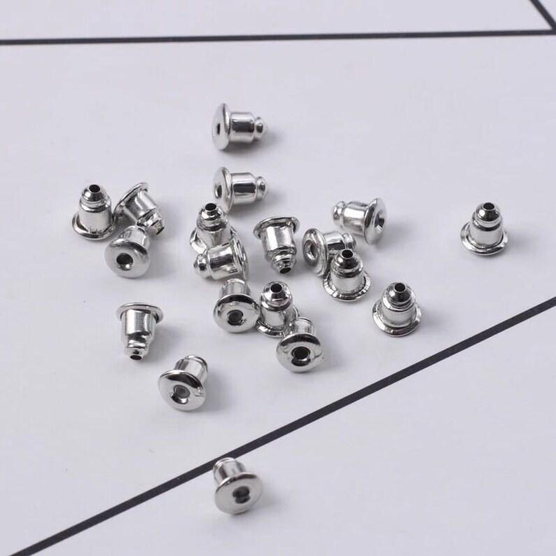 Stainless Steel Stud Earring Backs 5.5X3.5mm Bullet Barrel Earnut Stopper 14x18 Ear Nut Bell Wire Post Safety Clutch Components Parts