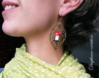 Wild Mushroom ceramic, bronze leaf earrings