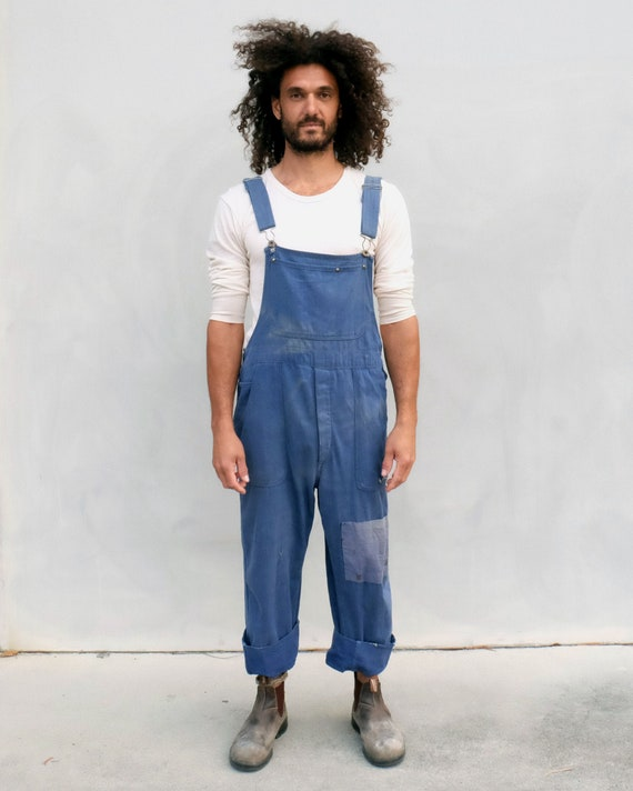Overalls - Unisex indigo workwear with patchwork. - image 1
