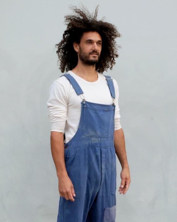 Overalls - Unisex indigo workwear with patchwork. - image 2