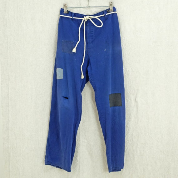 Vintage indigo chore pants with patches - Unisex