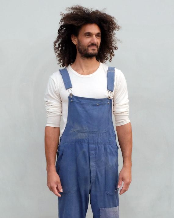Overalls - Unisex indigo workwear with patchwork. - image 9