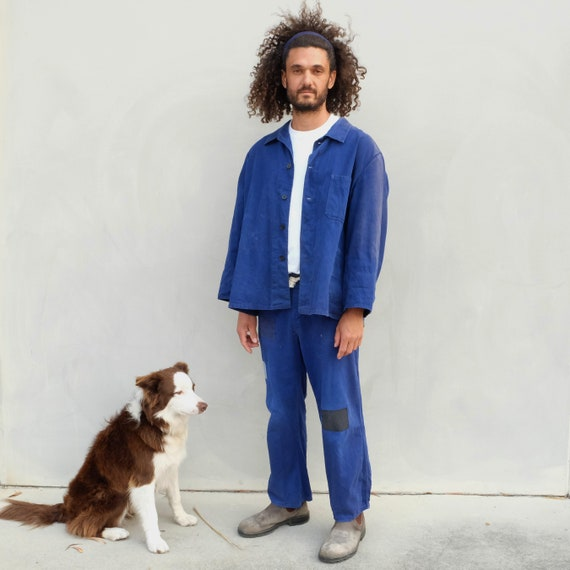 Vintage Indigo Workwear Chore Jacket - Unisex