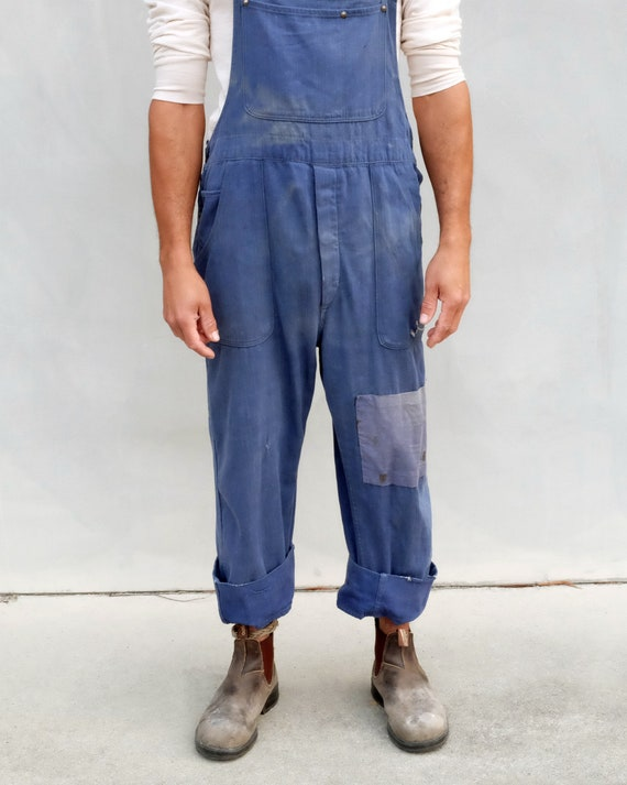Overalls - Unisex indigo workwear with patchwork. - image 3