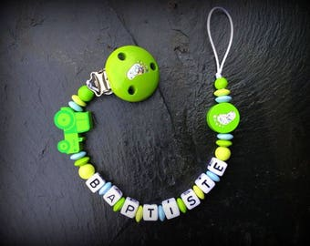 Customized tractor wooden pacifier clip