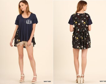 4017f201a79c2 Monogram Umgee Brand High Low Short Sleeve Top with Floral Print Back  Boutique Clothes