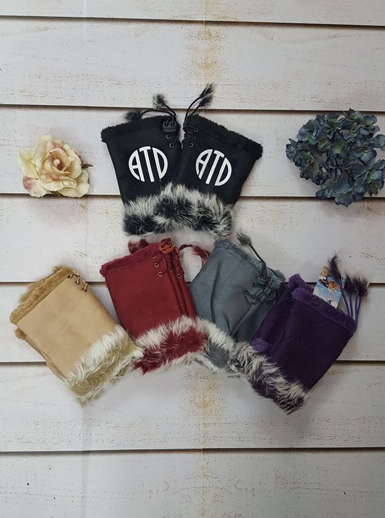 Monogram Ladies Plush Lined Gloves Pom Pom Fur Ladies Gloves Gift Idea for her