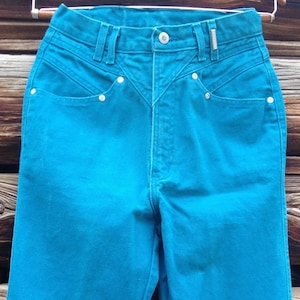 32b23a6f Rocky Mt. Jeans Women's Vintage 1980's High Waist Cowgirl Teal-Turquoise  Size 7/8 x 34