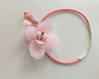 Vintage bangle with handmade tulle flower