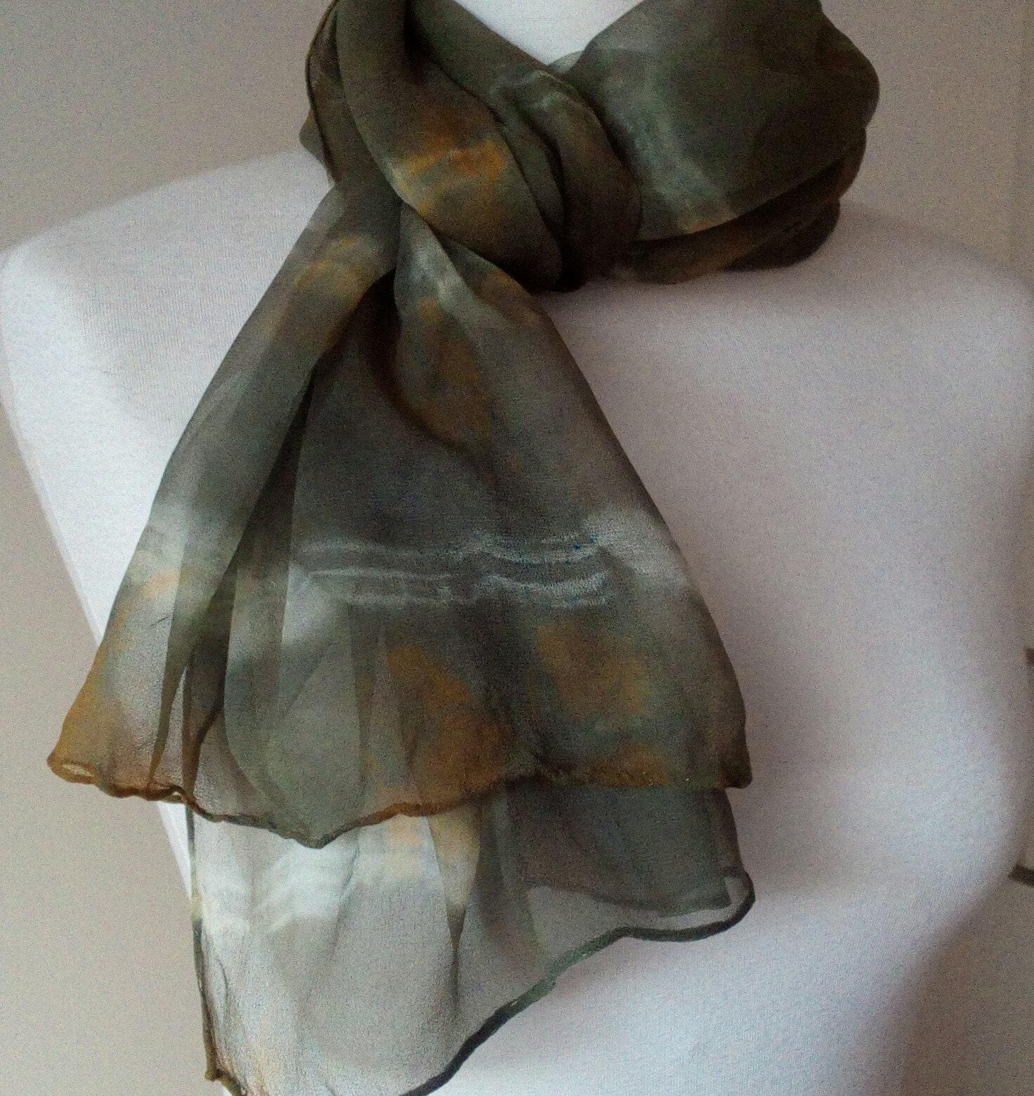 f6fe2038fe1 Chiffon scarf Olivia silk batik olive green