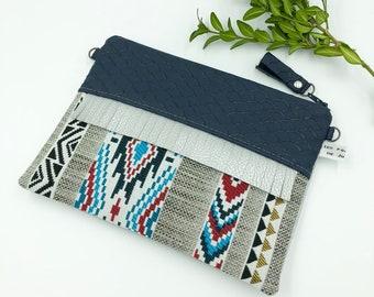 //TOINETTE fringe clutch / / blue stripes