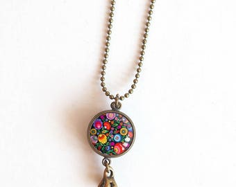 Necklace cabochon double, double-sided, multi color stars