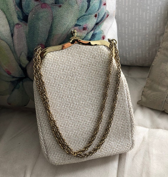 Vintage Cream Purse, JR Florida USA, Chain Handle,