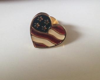 Avon Red White & Blue Heart Pin, Patriotic Heart
