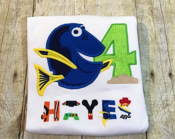 Dory with Character Letters Personalized Birthday Shirt