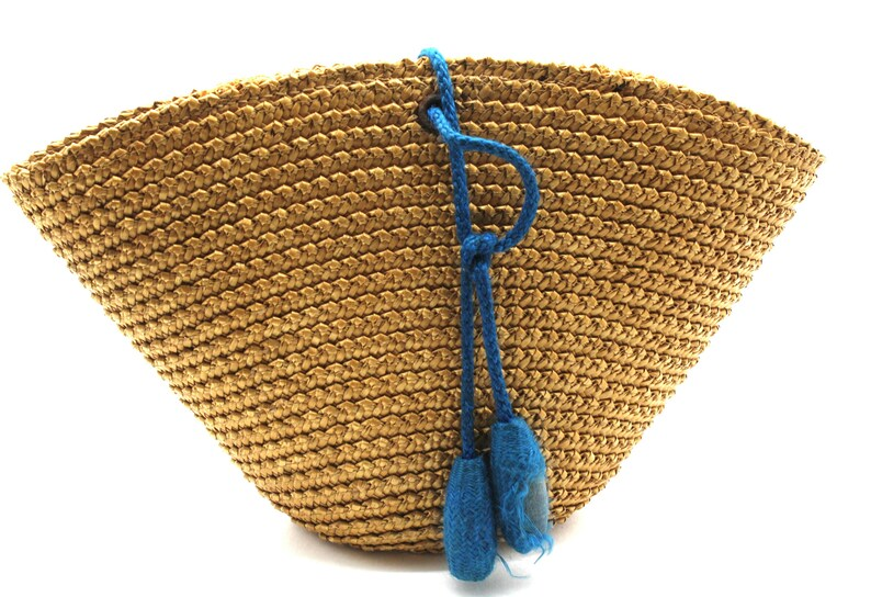 Rare antique small wicker basket embroidered