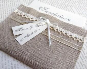Faire part mariage, personnalisable, Invitation Romantique n1 -  pochette lin et dentelle écru