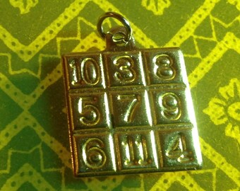 Gold Plated Bingo Card Pendent Charm