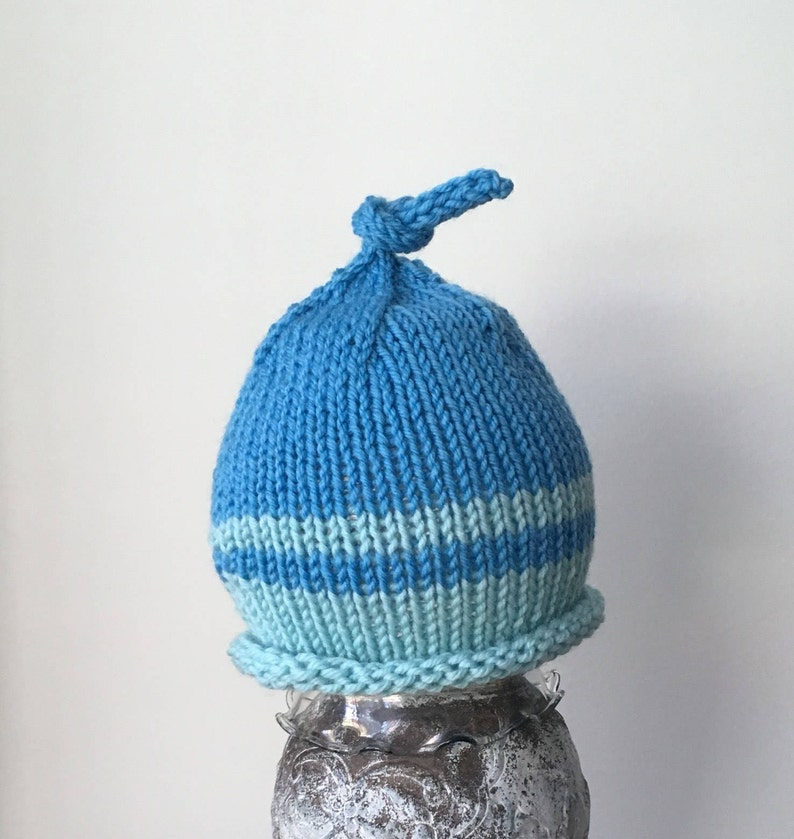 Knitted Baby Boy Hat Blue Baby Hat Baby Beanie Baby Top  80292f78553d
