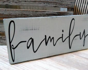 Family wood sign, Hand painted wood sign, FAMILY