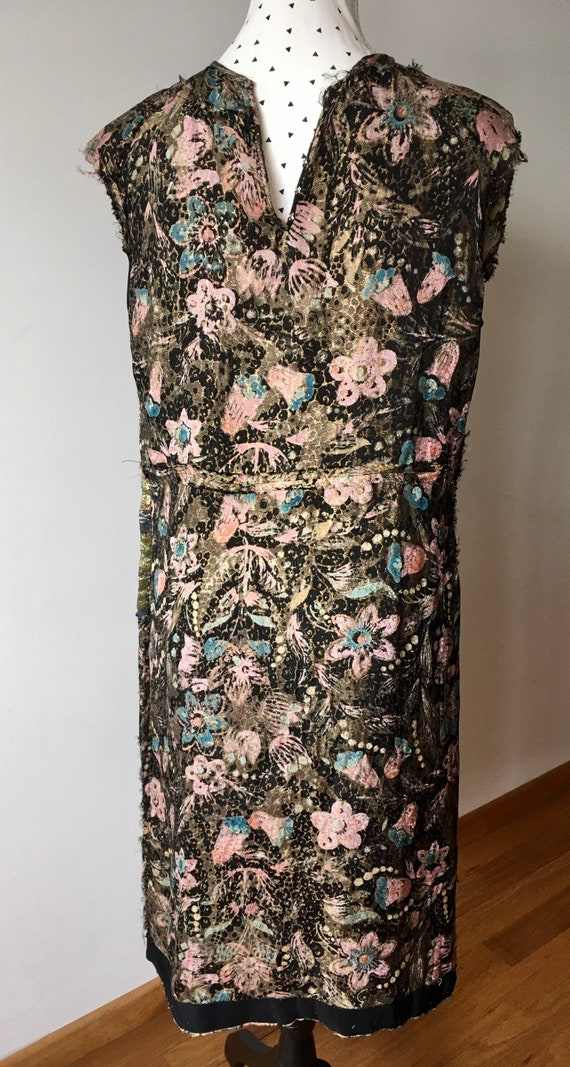 1960s dress made out of a 1920s lamé dress