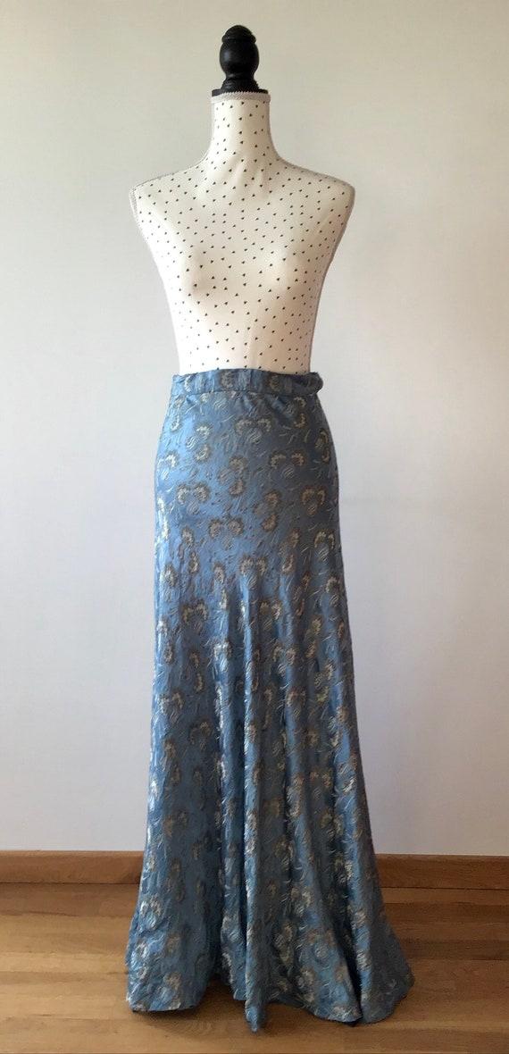 Beautiful 1930s silk brocade floor length skirt