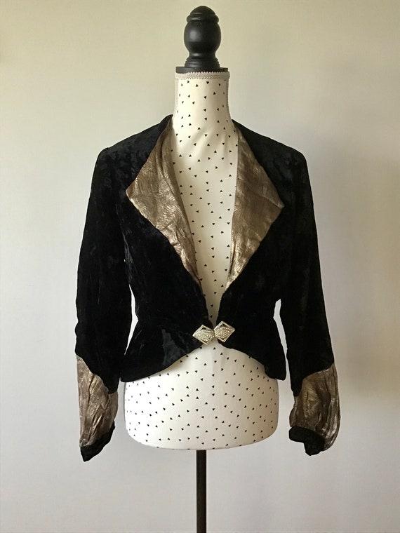 Beautiful 1930s black velvet and lamé evening jack