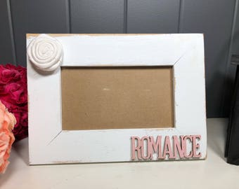 Unique frame/Shabby chic/rustic/ farmhouse/distressed white wood photo frame