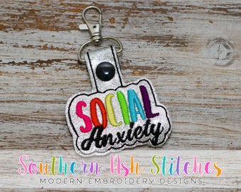 Social Anxiety SnapTab Embroidery Digital Download