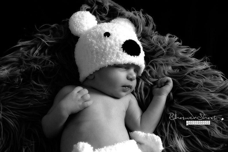 Baby set in wool cap slipper and polar bear diaper handmade crochet