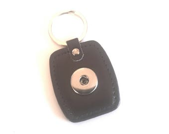 Snap button pressure 18mm Brown leather rectangular shaped keychain