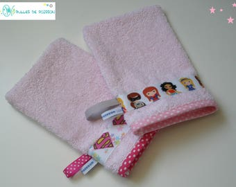 """set of 2 washcloth """"duo super heroine"""" for babies and children 1 to 8 years"""