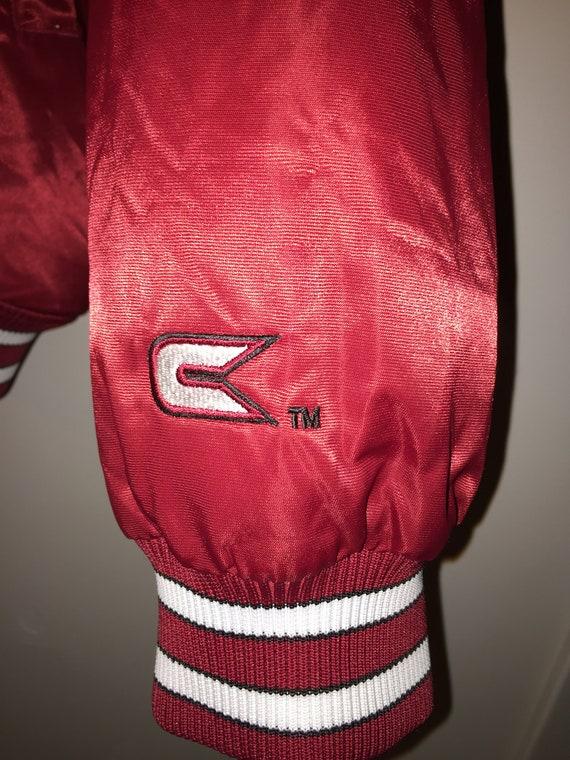 Vintage Indiana Red Silk Bomber Jacket- Men's Siz… - image 7