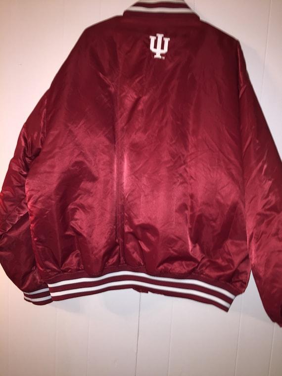 Vintage Indiana Red Silk Bomber Jacket- Men's Siz… - image 4