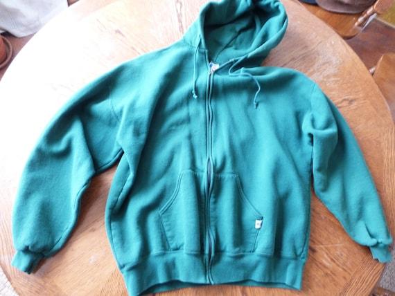 Vintage 1980's Green Russell Athletic zip up Hoodi