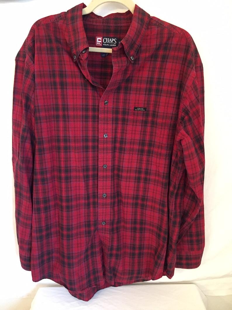 126b71bb056284 Vintage Chaps Ralph Lauren Red Plaid Shirt | Etsy