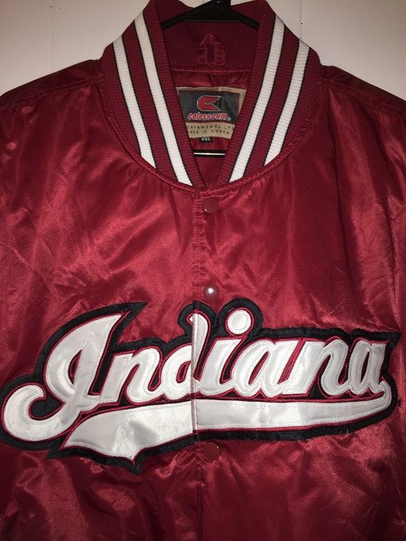 Vintage Indiana Red Silk Bomber Jacket- Men's Siz… - image 5