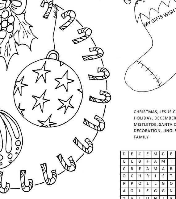 Christmas Activity Sheet For Kids Coloring Page Placemat Printable Placemat Place Mat Coloring Games For Kids Holydays