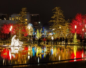 Reflecting Pool in Temple Square, SLC, LDS, night photography, downtown, Utah, digital download