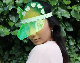 The LOVE Visor - Neon / Glow in the dark PVC Heart Shaped Visor Hat in neon yellow and or pink - adjustable ONESIZE