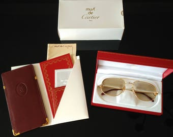 Vintage Cartier Romance Santos Sunglasses from 1986, Original Cartier Mineral Lenses, Made in France, Full Set, Brand New in Original Box!!!