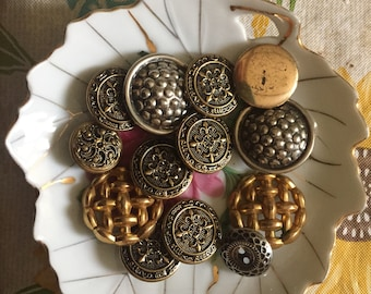 Vintage Metal Triangular Self Cover Buttons X 5 Sets
