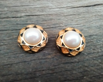 Large Vintage Round Clip On Earrings with Faux Pearls, Inv.# 221