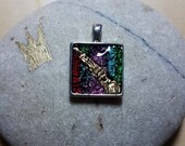 Gold, Red, Purple, Green Square Pendant Hand made polymer clay Artist original