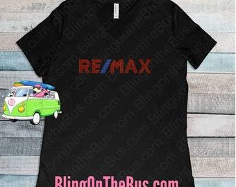 ReMax Updated Logo Real Estate Rhinestone Bling Ladies T-Shirt a8758cfbf