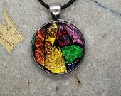 Gold, Orange, Purple Round Pendant Hand made polymer clay Artist original