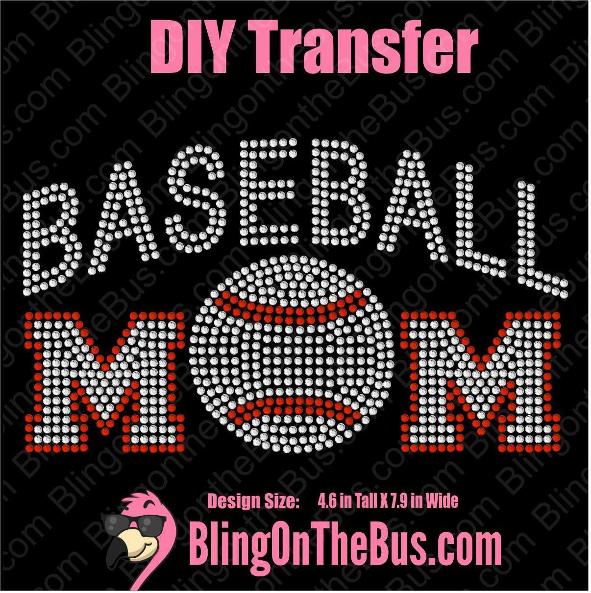 cefd4d1ced Baseball Mom 1 Rhinestone DIY Bling Transfer Free Shipping