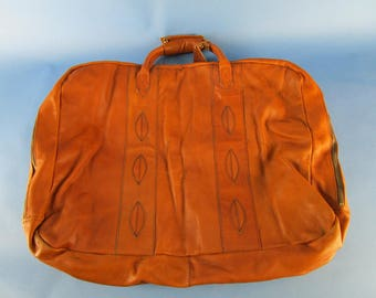 Vintage Leather Duffel Suitcase